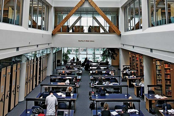 University of Northern British Columbia students studying in library