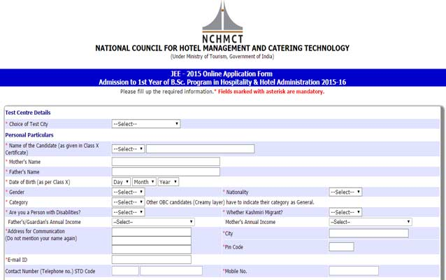 NCHMCT JEE 2015: How to apply Online | shiksha.com on retail application form, hotel employment application form, bartender application form, restaurant application form, apartment rental application form, insurance application form, charity application form, car rental application form, mortgage loan application form, temporary employment application form, aramark application form, photography application form, create your own application form, dollar store application form, nursery application form, lunch application form, private school application form, landscaping application form, web design application form, bail bond application form,
