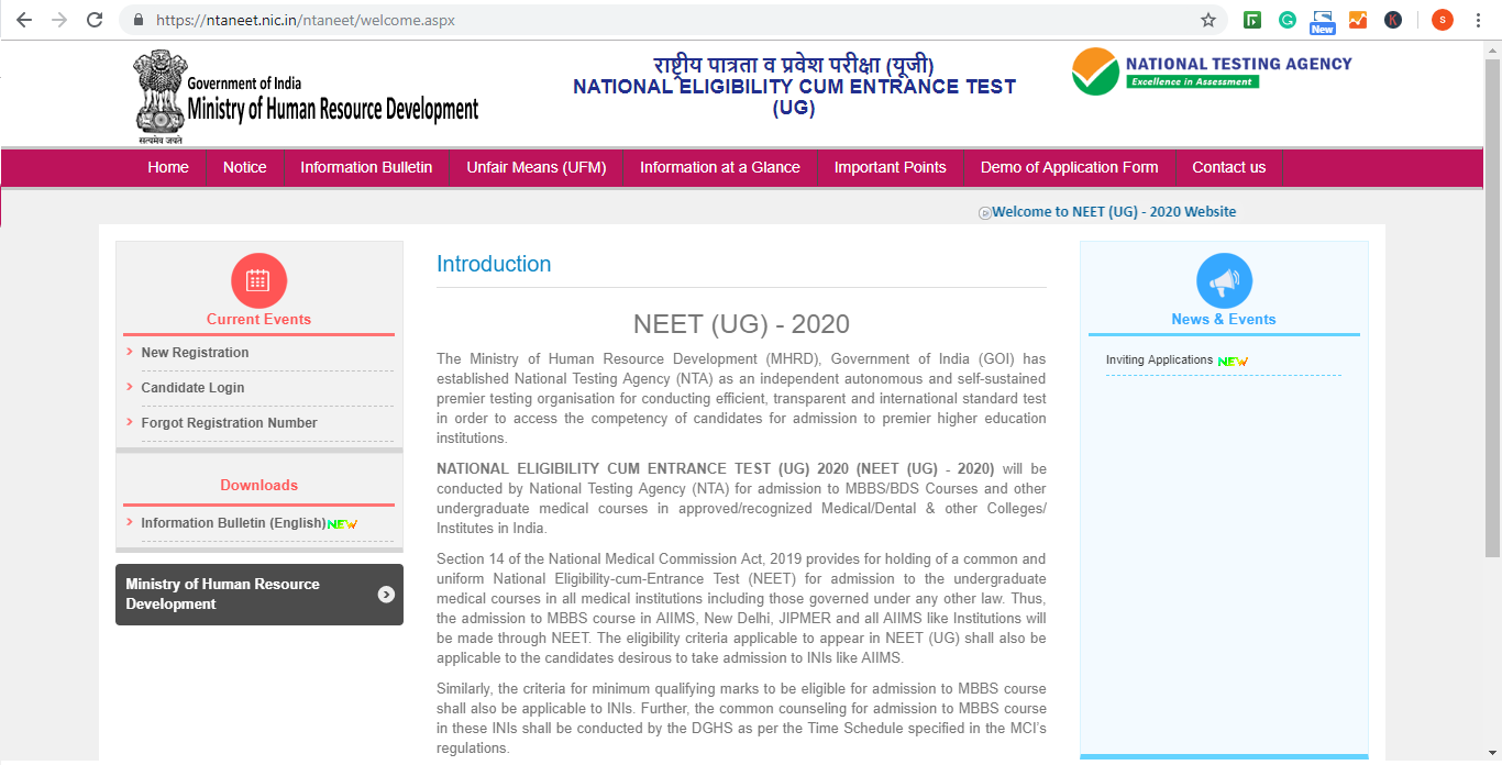 NEET Application Form 2020, Registration (Started): Apply