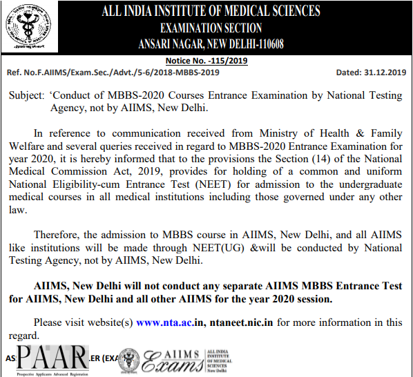 Aiims Mbbs 2020 Exam Replaced By Neet 2020