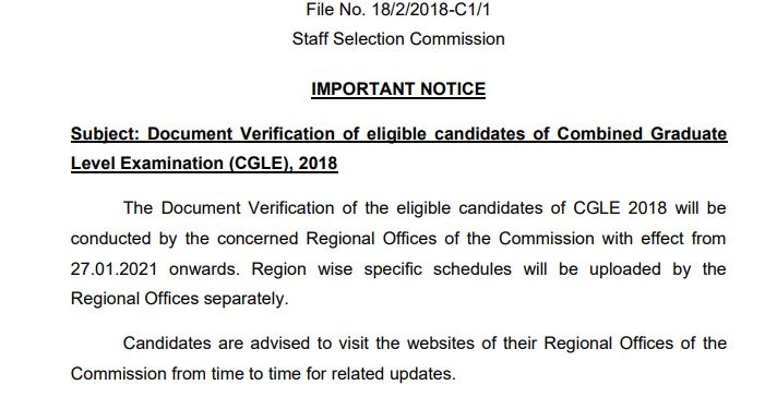 SSC CGL 2018 document verification out